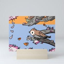 sakura sparrow Mini Art Print