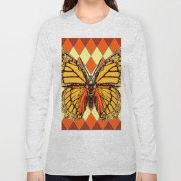 MONARCHS BUTTERFLY  &  ORANGE-BROWN HARLEQUIN PATTERN Long Sleeve T-shirt