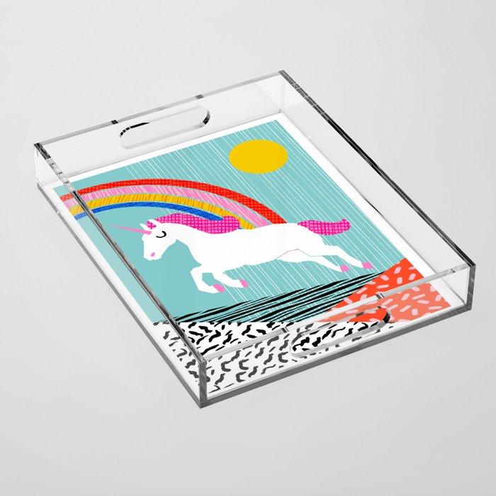 Adorbs - colorful unicorn memphis rainbow retro 80's style art print Acrylic Tray
