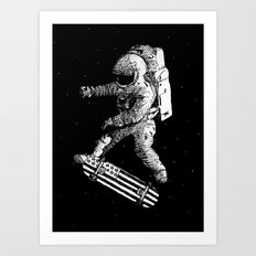Kickflip in space Art Print