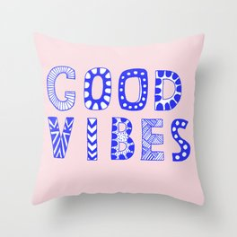 Good vibes pastel typography Throw Pillow