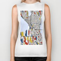 mondrian Biker Tanks featuring Seattle Mondrian by Mondrian Maps