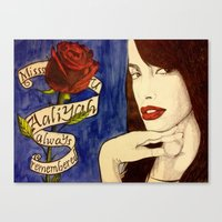 aaliyah Canvas Prints featuring Aaliyah by DeMoose_Art