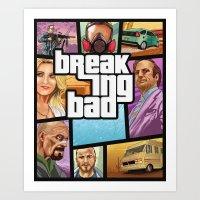 gta Art Prints featuring Breaking Bad: GTA  by Messypandas