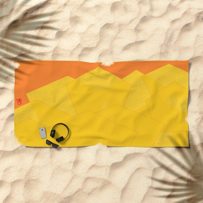 Colorful Yellow Abstract Shapes Beach Towel