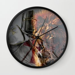 Templar Knight and Lion Wall Clock