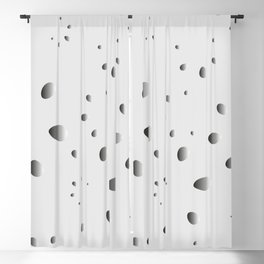 Glowing drops and petals on a gray background in nacre. Blackout Curtain