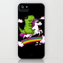 T-Rex Dinosaur Riding Magical Unicorn Rainbow iPhone Case