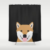 shiba inu Shower Curtains featuring Indiana - Shiba Inu gift design for dog lovers and dog people by PetFriendly
