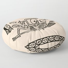 Be Cheerful, Live Well Skeleton Floor Pillow