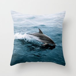 Dolphin in the Atlantic Ocean - Wildlife Photography Throw Pillow