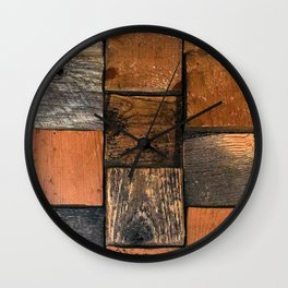Industrial Urban Reclaimed Wood Squares Wall Clock