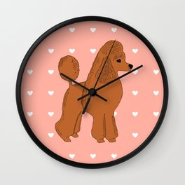 Red Apricot Poodle with Peach Pink & Hearts Wall Clock