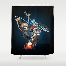 Biker popping a wheelie on a chopper motorcycle cartoon Shower Curtain