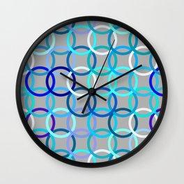 Mid-Century Modern Circles, Grey, Blue and Aqua Wall Clock