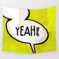 comic book Wall Tapestries featuring Comic Book: Yeah! by Ed Pires