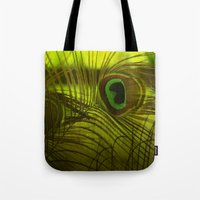 peacock feather Tote Bags featuring Peacock Feather by TaLins