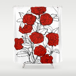 Bouquet of Roses (a Continuous Line Drawing) Shower Curtain