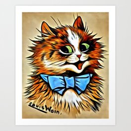 "Louis Wain's Cats ""Tabby with Blue Bow"" Art Print"
