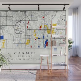Carmel Indiana Map with GPS location Wall Mural