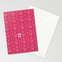 Hugs, Kisses, Love, and Pi - Pink  Stationery Cards