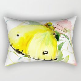 Soft Yellow Butterfly and Pink Flower, pink turquoise lemon yellow girls room art, design Rectangular Pillow
