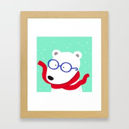 Hipster Polar Bear Framed Art Print