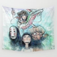 spirited away Wall Tapestries featuring Spirited Away Watercolor Painting by Barrett Biggers