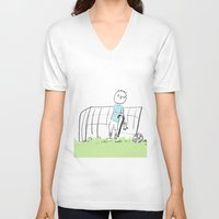 football V-neck T-shirts featuring football by sharon