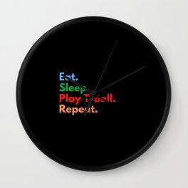 Eat. Sleep. Play T-Ball. Repeat. Wall Clock
