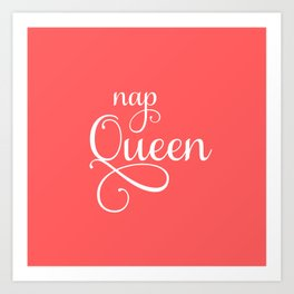 Nap Queen - Coral and White Art Print