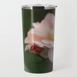 Creme Color Rose with Red Buds Travel Mug