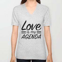 LOVE IS MY AGENDA black Unisex V-Neck