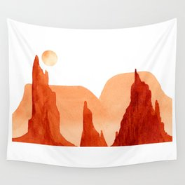 Monochrome Mountains with  Moon #1 Wall Tapestry