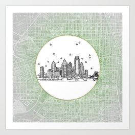 Philadelphia, Pennsylvania City Skyline Illustration Drawing Art Print