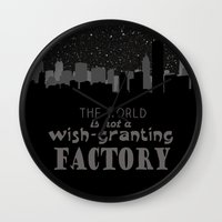 tfios Wall Clocks featuring TFiOS Quote - The World is Not a Wish-Granting Factory by royaltyblood