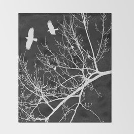 Crows Flying Over Trees Negative Silhouette Throw Blanket