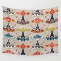 damask Wall Tapestries featuring carousel damask by Sharon Turner