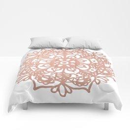 Rose Gold Mandala Redux Comforters
