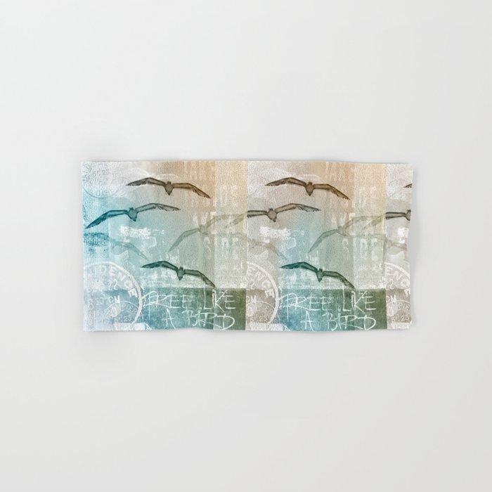 Free Like A Bird Seagull Mixed Media Art Hand & Bath Towel