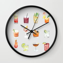 Classic Watercolor Cocktails Drinks Wall Clock
