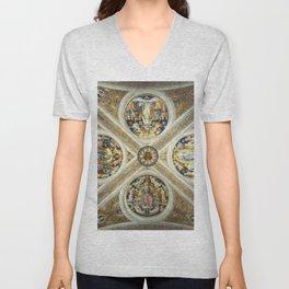 """Raffaello Sanzio da Urbino """"Ceiling of the Stanza della Segnatura"""", 1508-1511 Unisex V-Neck"""