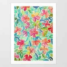 Tropical Floral Watercolor Painting Art Print