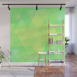 Bright lime and lemon triangles in the intersection and overlay. Wall Mural