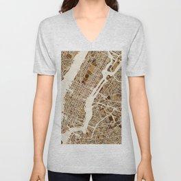 New York City Street Map Unisex V-Neck