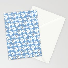 Daisies In The Summer Breeze - Blue Grey White Stationery Cards