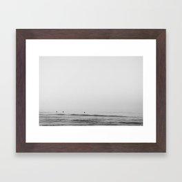 Surfers - Black and White Ocean Photography Huntington Beach California Framed Art Print