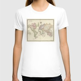 Vintage Map of The World (1844) T-shirt