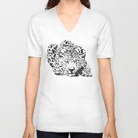 leopard V-neck T-shirts featuring Leopard  by Karen Hischak