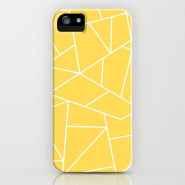 White Mosaic Lines On Mustard Yellow iPhone Case